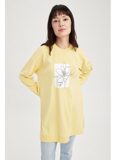 DeFacto Çiçek Baskılı Relax Fit Sweat Tunik Sarı